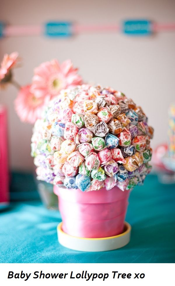 Baby shower lollipop tree makes a good centerpiece