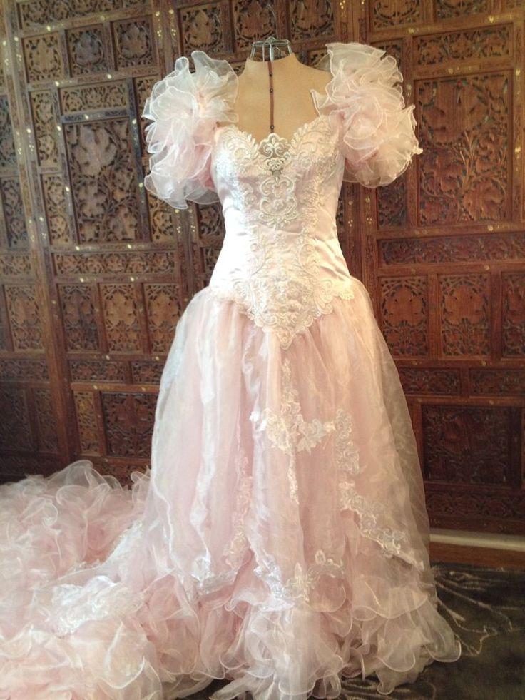 Vtg 80 39 s cotton candy pink wedding dress san martin for Pink vintage wedding dress