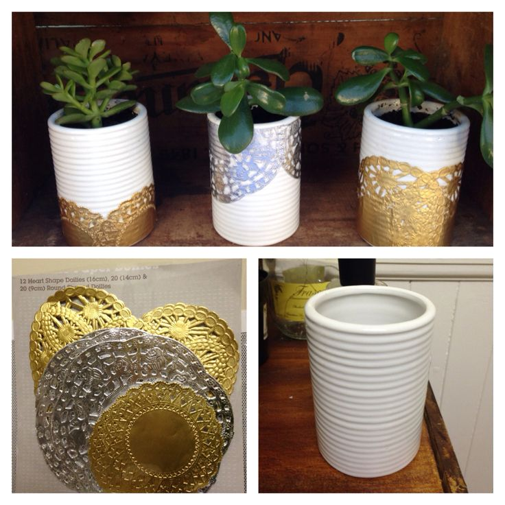 Kmart hack! Ceramic tumbler + foil doilies + succulents. Drill a drainage hole in tumbler using a tile cut drill bit. Paste paper doilies on using Mod Podge. Fill with potting mix & plant your succulent in it's new home!