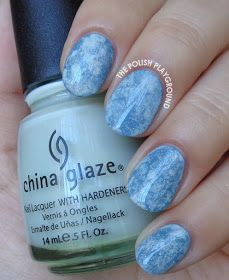 Blue Green Saran Wrap with Holographic Glitter Nail Art