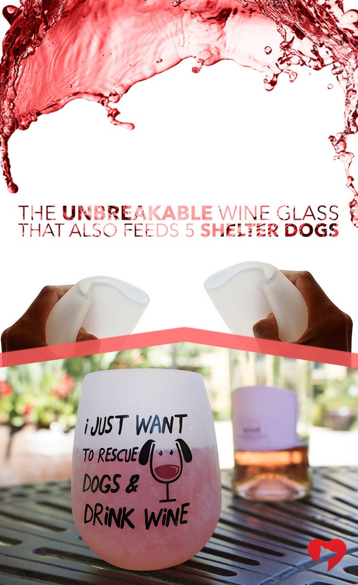 """These durable, food grade silicone glasses fold down to make the ultimate portable wine glass! No more worrying about glass or plastic breaking. In fact, you could even say these glasses are """"dog tail proof"""". ***Every purchase feeds 5 shelter dogs!"""