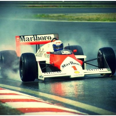 Legendary Alain Prost in action at a wet Spa in 1987 (Via Skysports.com)