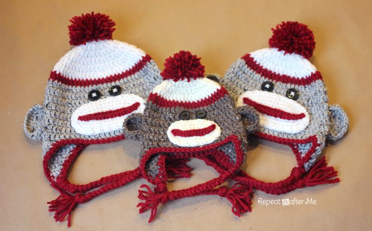 Repeat Crafter Me: Crochet Sock Monkey Hat Pattern free