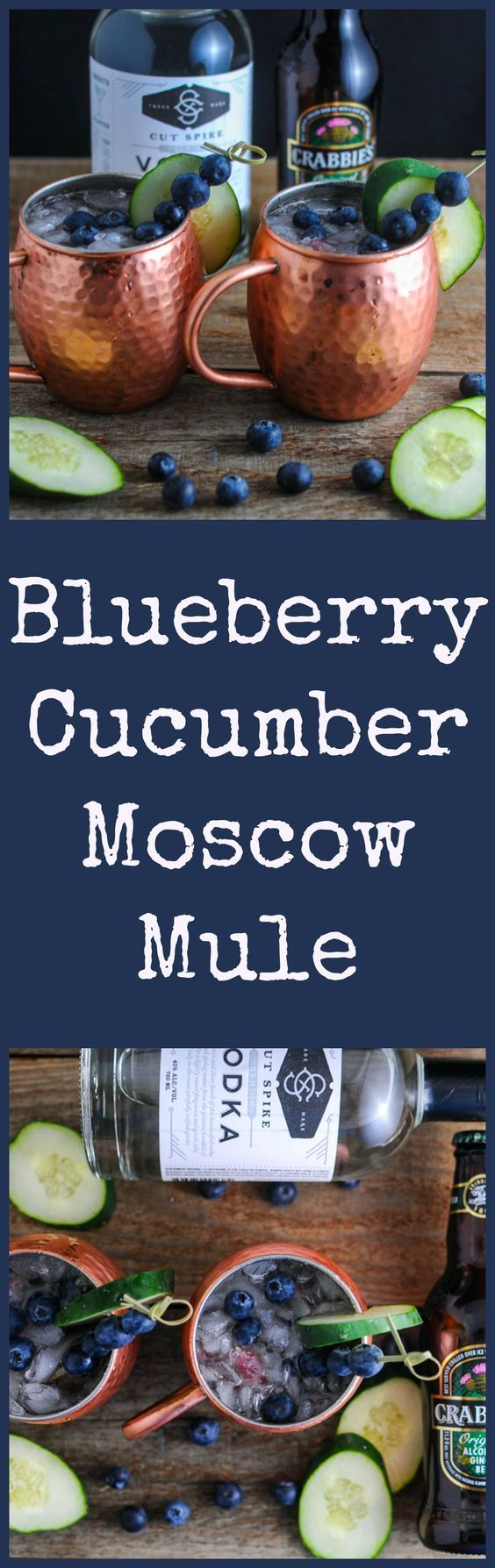 Blueberry Cucumber Moscow Mule - vodka, lime, ginger beer, cocktail drink, recipe, classic, variation, blueberries