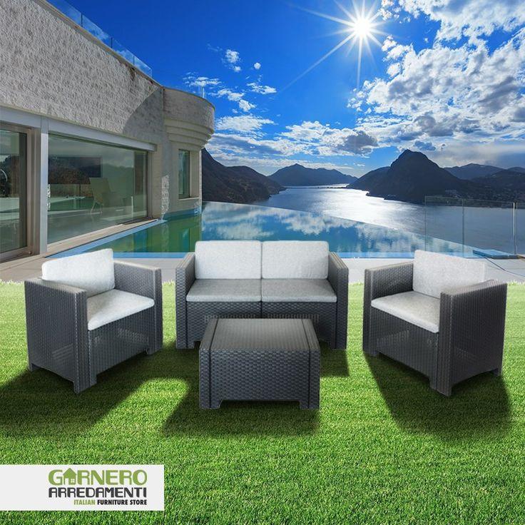 Salotto giardino set esterno De Luxe 2 rattan Antracite