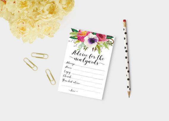 Newlywed advice advice for Vibrant watercolor bouquets and your choice of black or gold font featured on a gorgeous newlyweds advice cards marriage by Papierscharmants