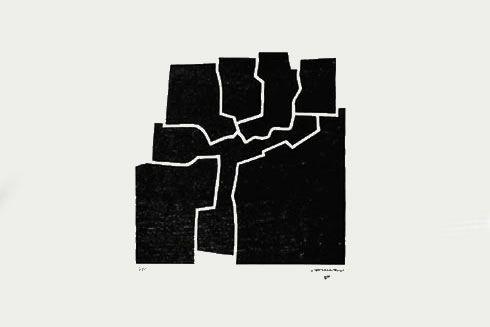 """Eduardo Chillida Xilografía """"Beltza V""""  1969  63.5 x 94.5 cm  Tirada de 75 ejemplares  Numerado y firmado a mano  Enmarcado  Precio: 5.000 €"""