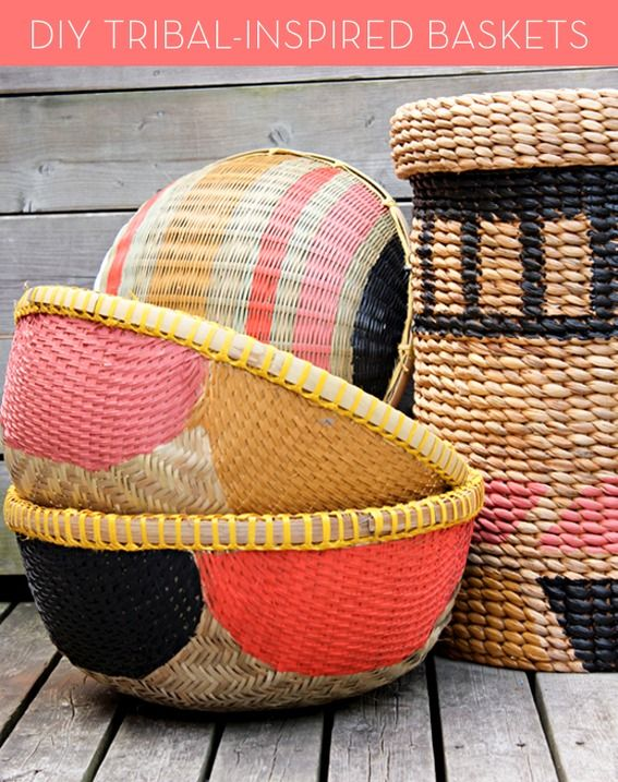 How to make #DIY Tribal-inspired painted baskets!