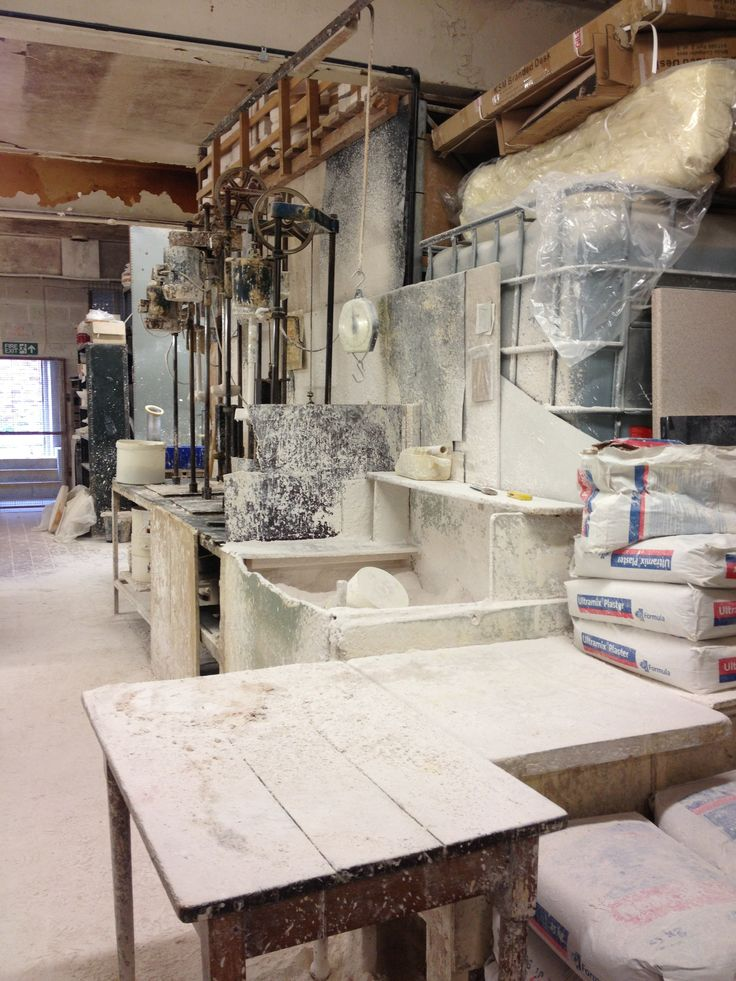 Plaster everywhere. Model makers in Stoke.