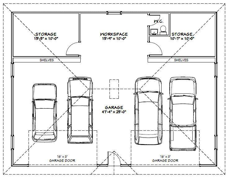 Image Result For Size Of 4 Car Garage Garage Plans Garage Dimensions Car Garage