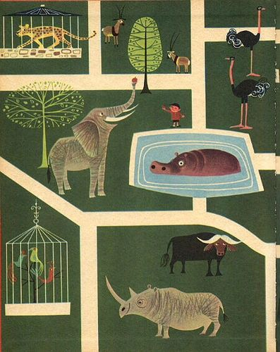 The Animals' Party - Story + pictures by Elisabeth Brozowska, Wonder Books, NY 1962