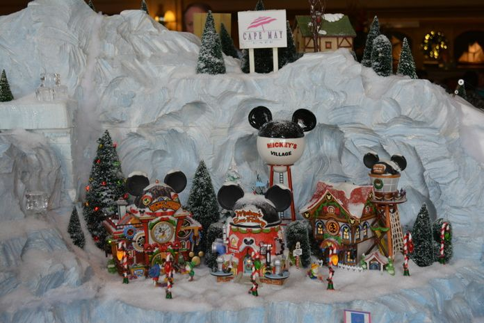 MouseSteps - Disney's Yacht Club Train Display 2013 Features Seaside Village, Department 56 Disney Figures