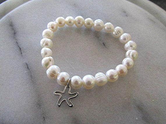 Pulsera de perlas agua dulce playa Perla pulsera boho pulsera