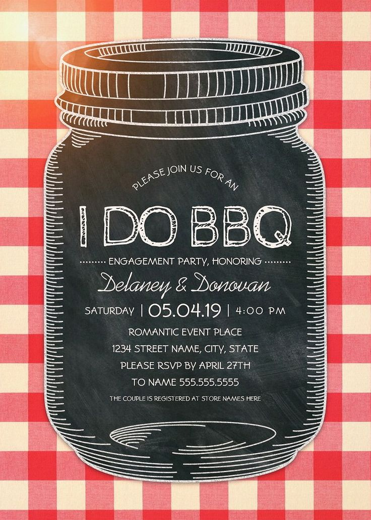 Vintage Rustic I Do BBQ Engagement Party Invitations – Unique Mason Jar Cards. Creative rustic country engagement party / couples shower invitations. Feature a unique chalkboard mason jar illustration on a rustic tablecloth background. A beautiful text typography that you can edit and change color if desired. A romantic invitation perfect for rustic country themed, or other engagement party / couples shower parties. More at http://superdazzle.com