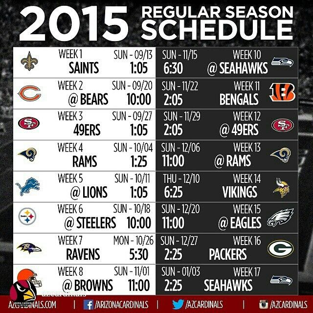 2015 Arizona Cardinals NFL season schedule. 3 prime time games await us this year! What games are you looking forward to the most?! #GoCardsGo #AZLadyBirds