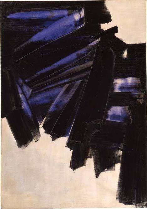 Tableau de Pierre Soulages (1919) peintre, graveur français associé à l'art abstrait. Particulièrement connu pour son usage des reflets de la couleur noire.