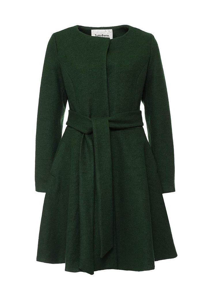 """Пальто Tutto Bene выполнено из плотной шерстяной ткани """"бобрик"""", гладкая подкладка. Детали: притален"""