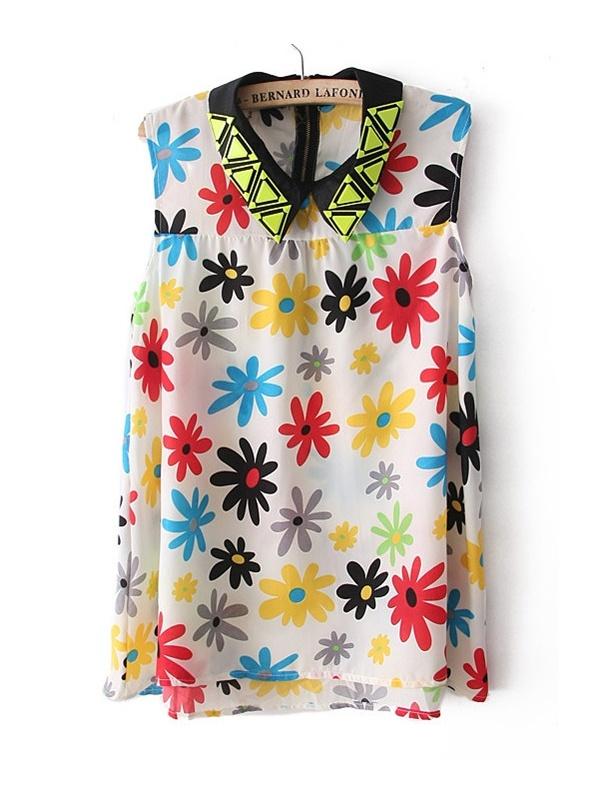 white sleeveless sunflower print chiffon vest -