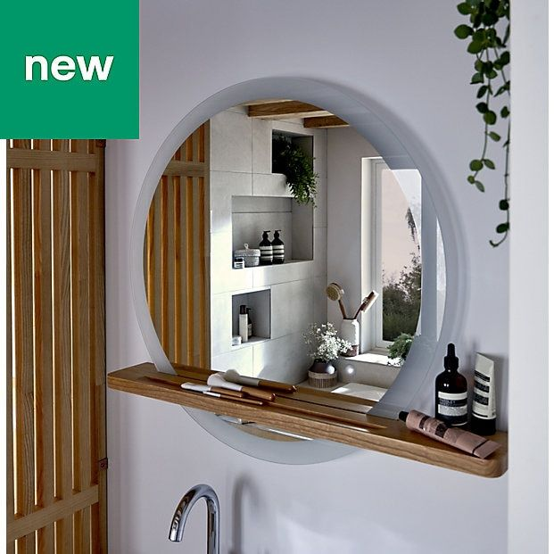 Goodhome Adriska Illuminated Round Bathroom Mirror With Shelf W 800mm H 25mm Round Mirror Bathroom Bathroom Decor Luxury Bathroom Mirror With Shelf