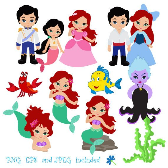 Princess Mermaid Ariel  Digital Clipart for por SandyDigitalArt
