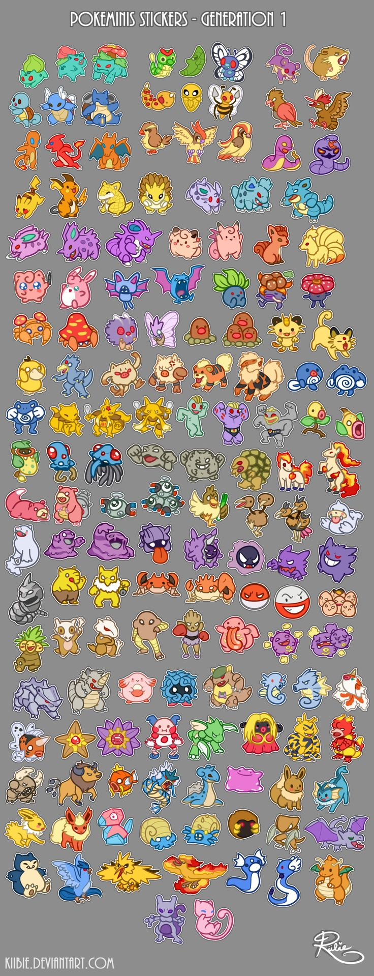 Pokeminis stickers - Gen 1 by Kiibie Pokemon game user interface gui ui | Create your own roleplaying game material w/ RPG Bard: www.rpgbard.com | Writing inspiration for Dungeons and Dragons DND D&D Pathfinder PFRPG Warhammer 40k Star Wars Shadowrun Call of Cthulhu Lord of the Rings LoTR + d20 fantasy science fiction scifi horror design | Not Trusty Sword art: click artwork for source