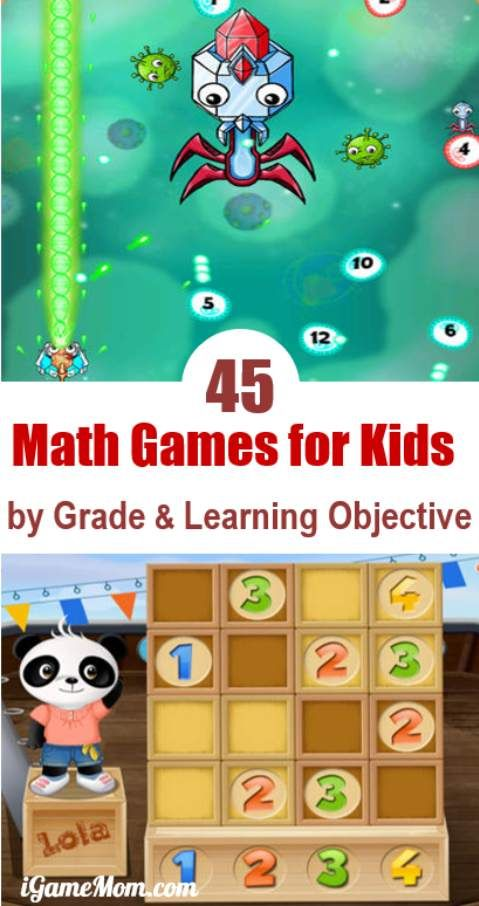 45 Math Game Apps for Kids, grouped by Age and Learning Objective, including math games for preschool, kindergarten, grade 1 to grade 12, with math facts practice, critical and logical thinking, word math problems, and more. They are fun and practicing math is not boring anymore!