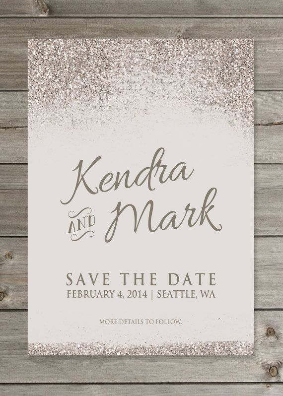 Glittery Save the Date Wedding Announcement by GaiaDesignStudios but with glue glittter