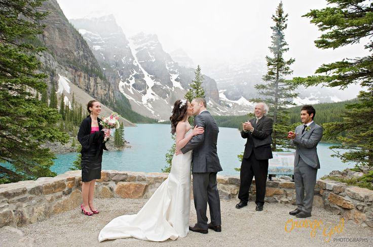Perfect Backdrop ♥ Moraine Lake Lodge - Shawna + Jeremy ♥ * Banff Wedding Photographer * Emerald Lake Wedding Photographer * Orange Girl