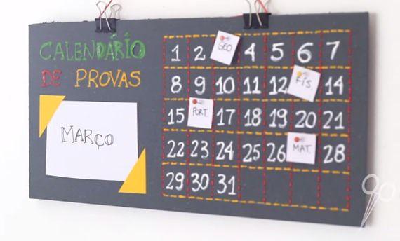 Faça você mesma: calendário provas
