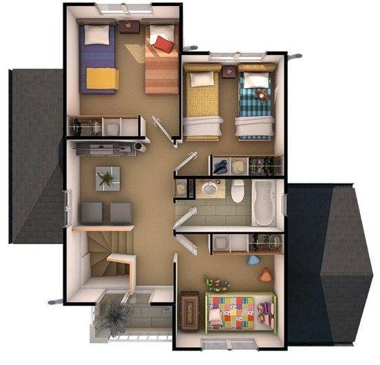 Plano de casas tipo chalet de 2 pisos planos para casas for Casas chalet modernas