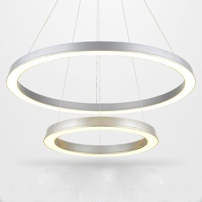 Modern Silver Simple LED Round Pendant Two Tiers