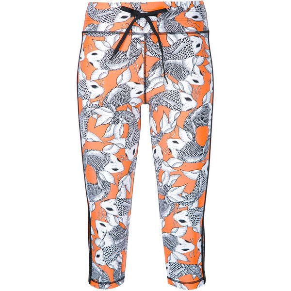 The Upside Sea of Koi print Power leggings (130 CAD) ❤ liked on Polyvore featuring pants, leggings, white lycra leggings, patterned leggings, spandex pants, legging pants and white legging pants