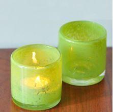 Fıstık yeşili buzlu cam bardak mumluklar...