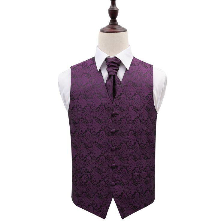 Men's Paisley Purple Wedding Waistcoat & Cravat Set