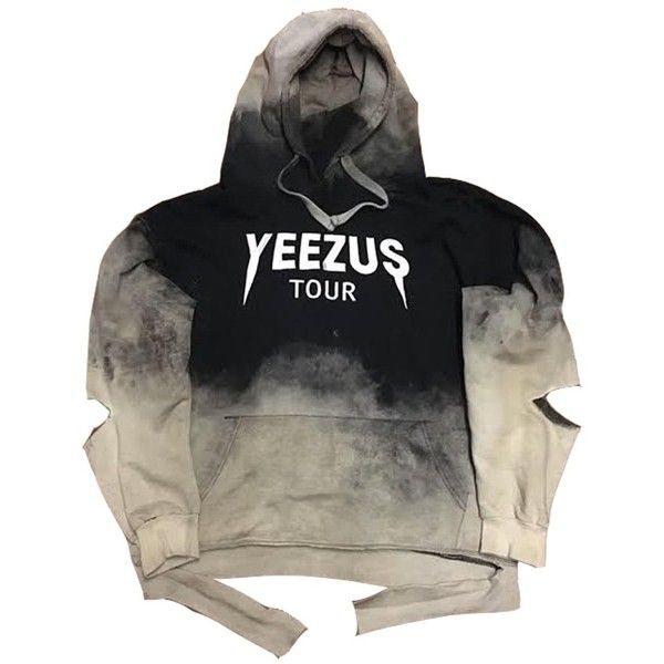 "Rock Hard ""Yeezus"" Bleach Distressed Hoodie (660 BRL) ❤ liked on Polyvore featuring tops, hoodies, jumpers, rock hoodies, rock hoodie, hooded pullover, ripped tops and distressed tops"