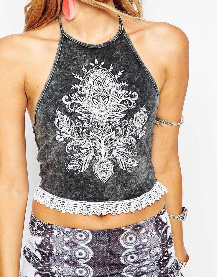 Image 3 ofASOS Festival Top With Halter And Embriodered Motif
