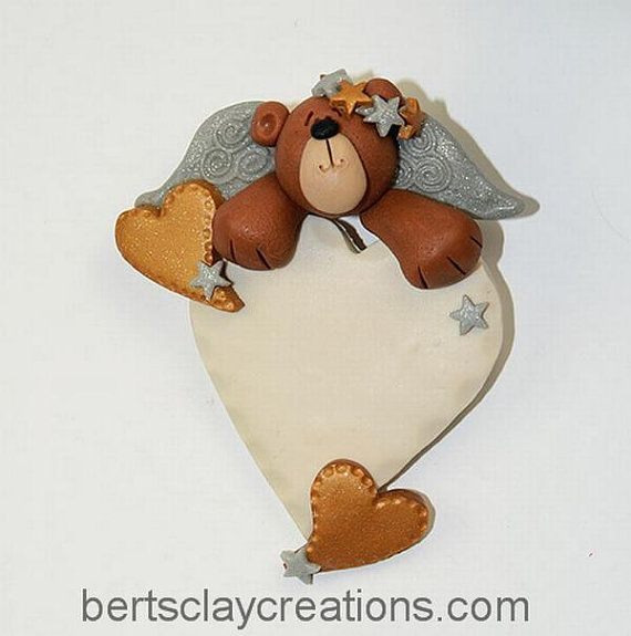 Heavenly Bear Ornament by BertsClayCreations on Etsy, $5.00