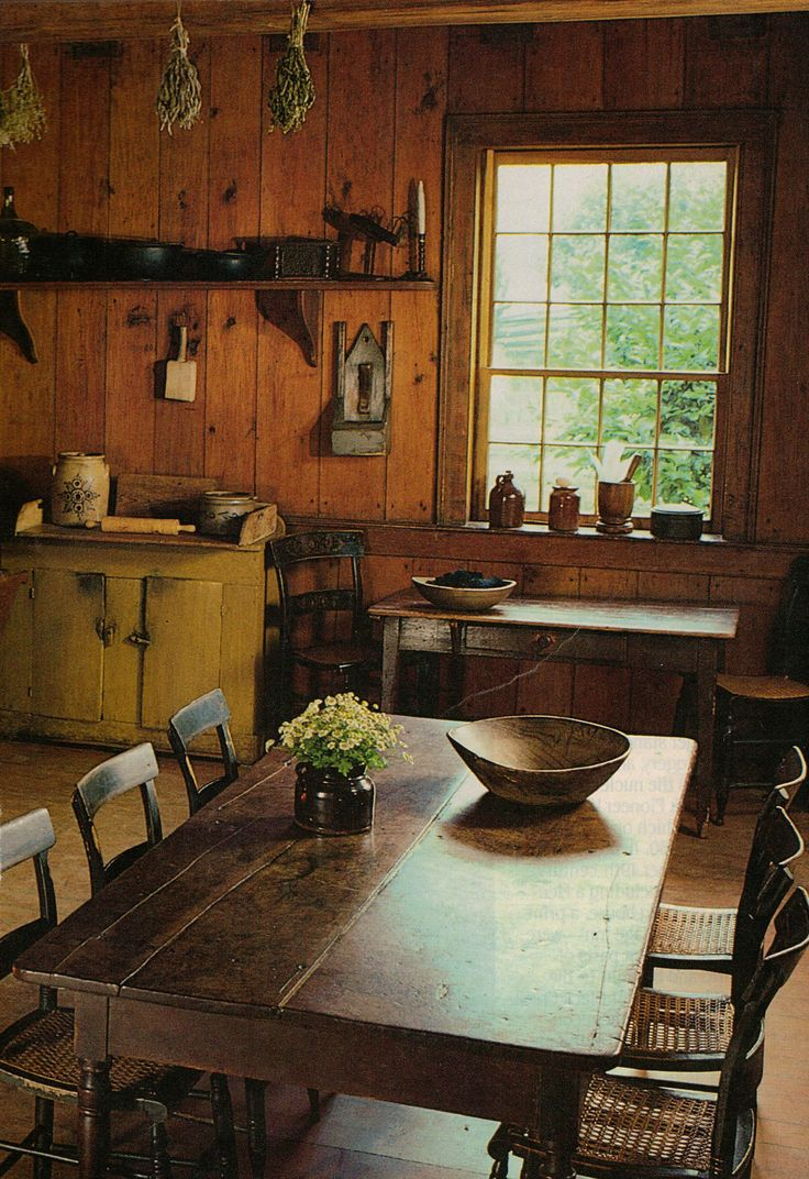 I can see a bunch of cowboys sitting down to a hot breakfast and a woman in a long gingham dress and apron serving them! Love this room!!