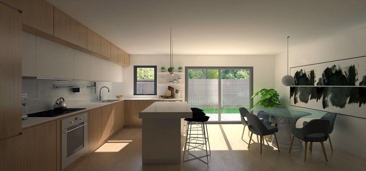 Custom eat-in kitchen  Oak cabinets 3D by Lucas Alves