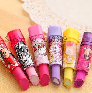 Eraser material escolar rubber Kid Child Gift lipstick erasers school supplies stationery 1 PC cartoon cute lipstick rubber