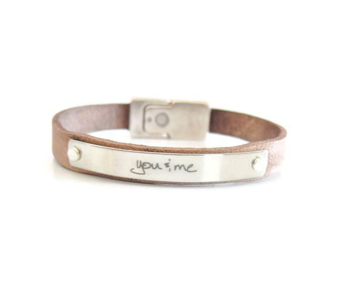 Men's Leather Handwriting bracelet