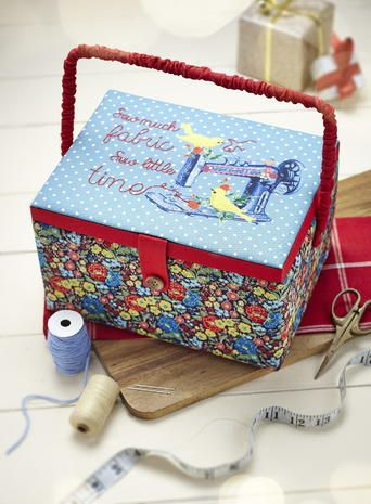'Sew much fabric, sew little time' embroidered sewing box