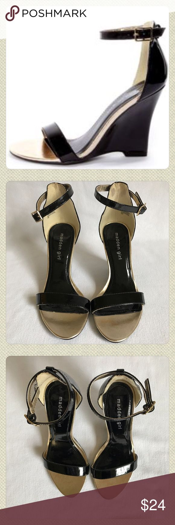 """Madden Girl Black & Gold Strappy Sandals, Sz 7.5 Black with gold accents, wedge sandals, size 7.5. In very good used condition. Heel is about 4"""". There are spots inside the back of the sandal. There is slight discoloration on the gold toe of the left shoe. You can't see anything when you have the shoes on. They are really cute shoes.  Please feel free to ask any questions or use the offer button to make an offer. Everything is negotiable! Madden Girl Shoes"""