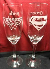 Wonder Woman & Superman Wedding glasses...super awesome