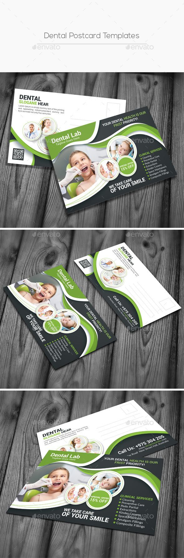 Dental Postcard Templates - Cards & Invites Template PSD. Download here: http://graphicriver.net/item/dental-postcard-templates/16563177?s_rank=849&ref=yinkira
