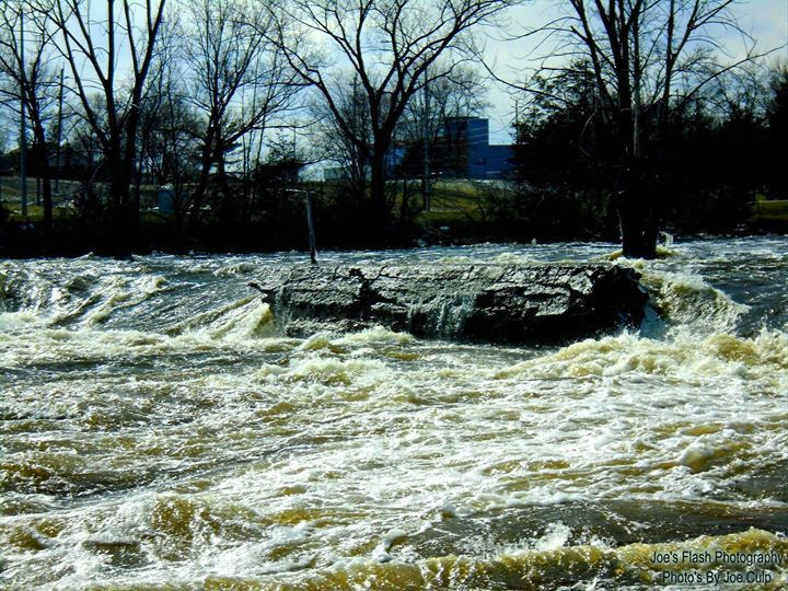 Torrants of waters on the Moira River Belleville Ontario at this former Latimer Dam