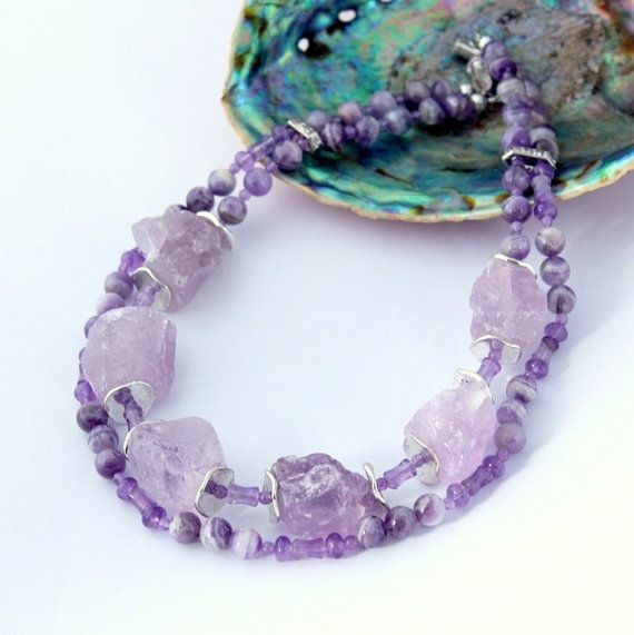Double strand Amethyst Necklace Lilac Purple Natural by Fagiano