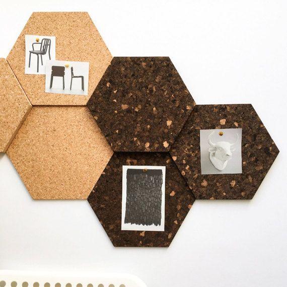 Modulare Kork Sechseck Fliesen, Dark - 3er-Set / Schwarzes Brett / Bulletin Board / Message Board / Home Office / Organisation