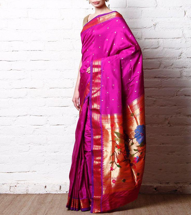 Udaan Purple Pure Silk Paithani Saree