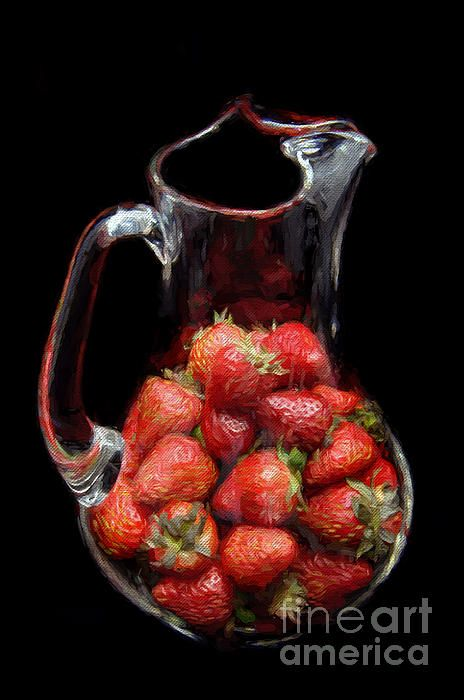 Pitcher Of Strawberries Painting  Check out my galleries for more Painterly or Food art   8-18-2012 11-18-2014   FAA WATERMARK IS NOT ON FINAL PRINT... IT IS FOR WEB USE ONLY   Buy Art Online. Buy Photos Online. Buy Photography Online. Buy paintings Online